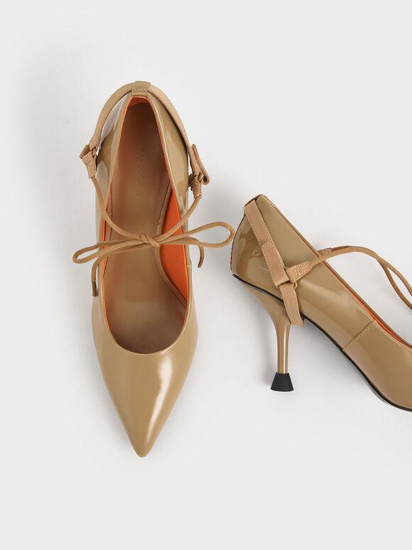 Patent Ankle-Tie Court Shoes, Sand, hi-res