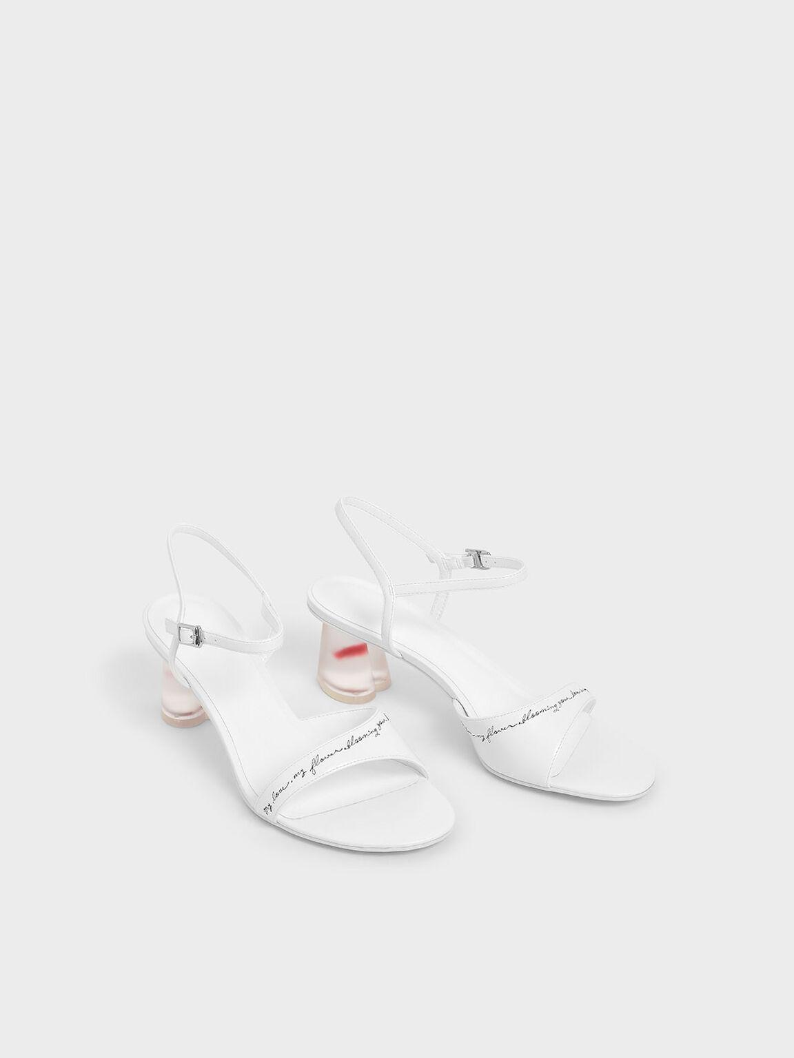 Embroidered Lucite Sculptural Heel Sandals, White, hi-res