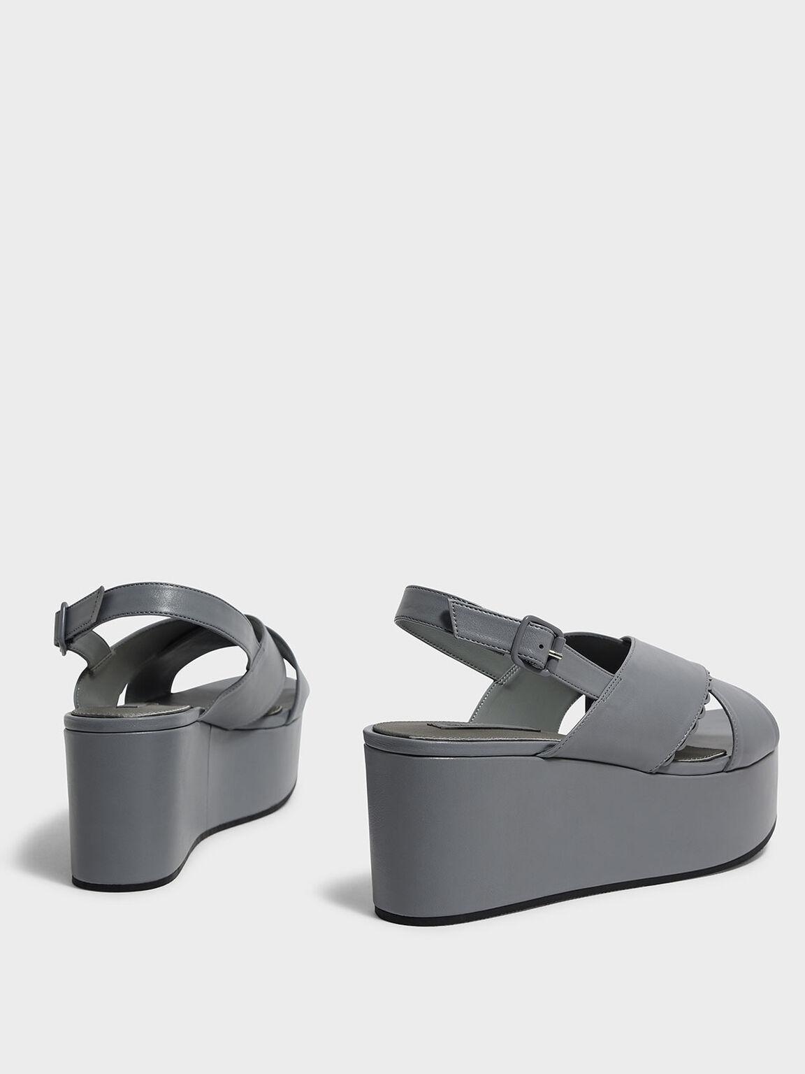 Scallop Trim Crossband Flatforms, Grey, hi-res