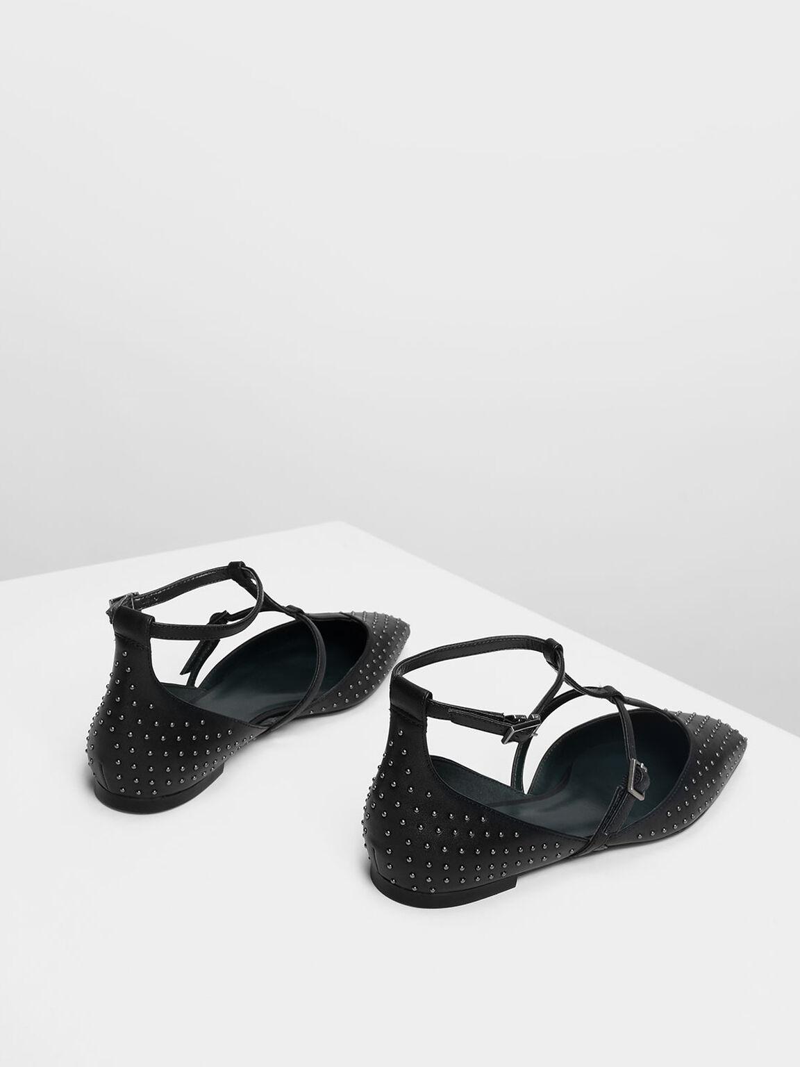 Micro Stud Embellished Caged Flats, Black, hi-res