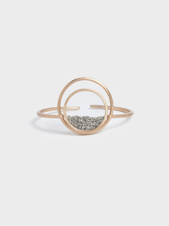 Silver Sparkling Sandstone Floating Locket Cuff Bracelet, Gold, hi-res