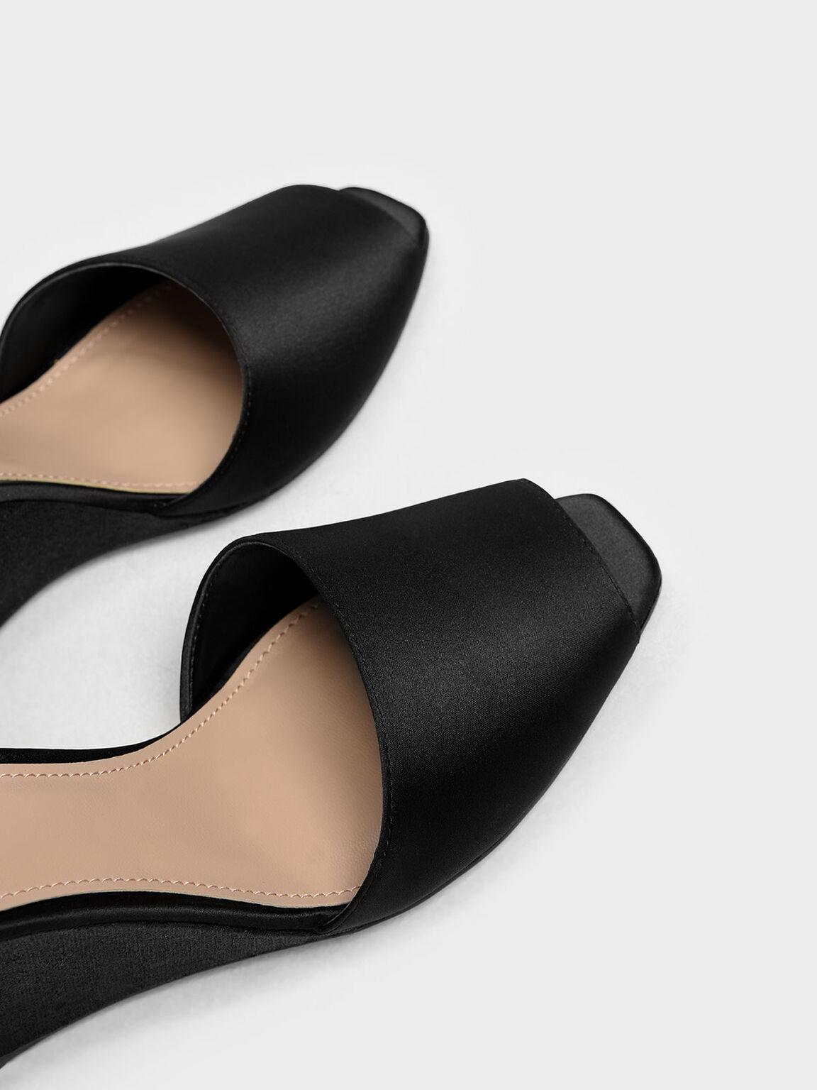 Glitter Peep Toe Wedges, Black, hi-res