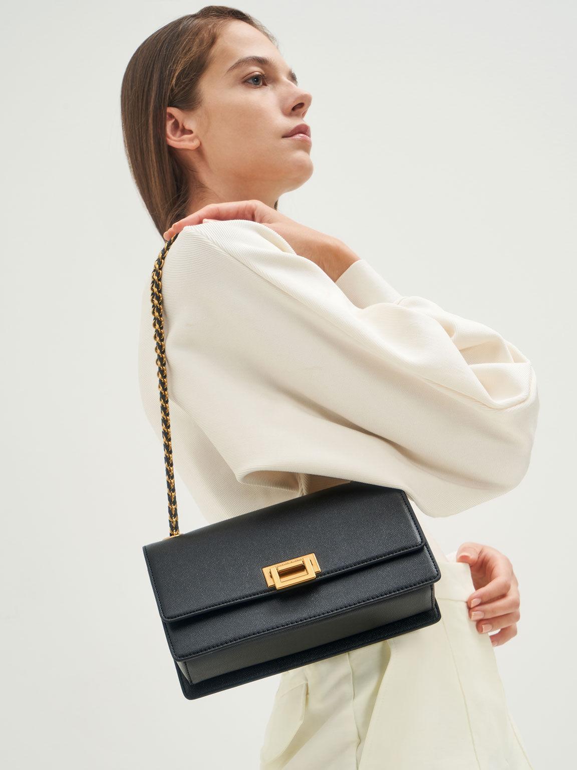 Chain Strap Evening Bag, Black, hi-res
