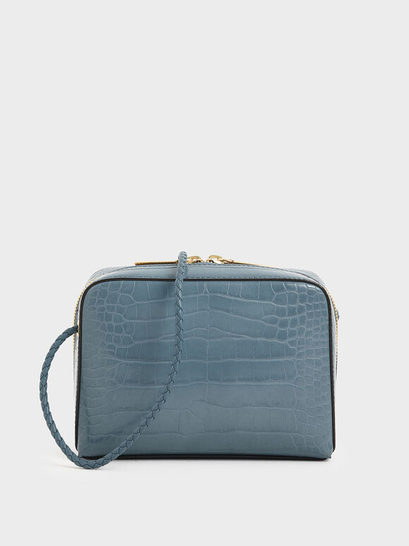 Croc-Effect Mini Rectangular Crossbody Bag, Blue, hi-res