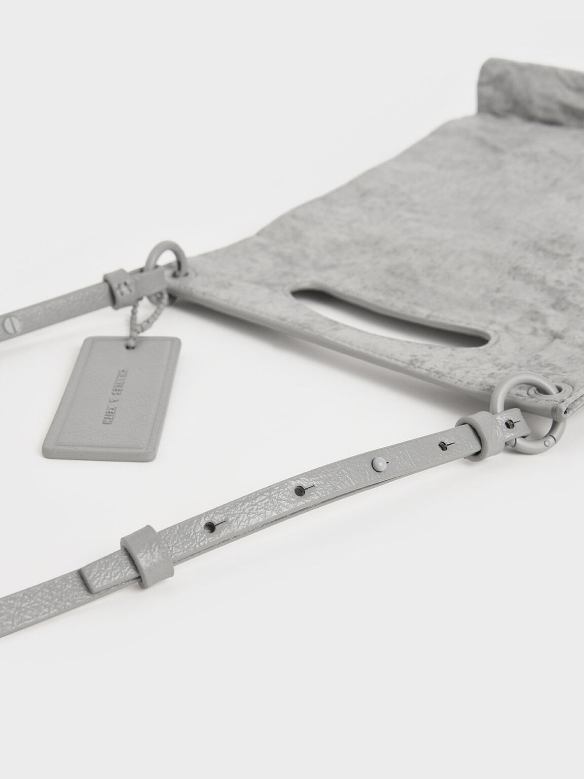 Crumpled-Effect Top Handle Clutch, Grey, hi-res