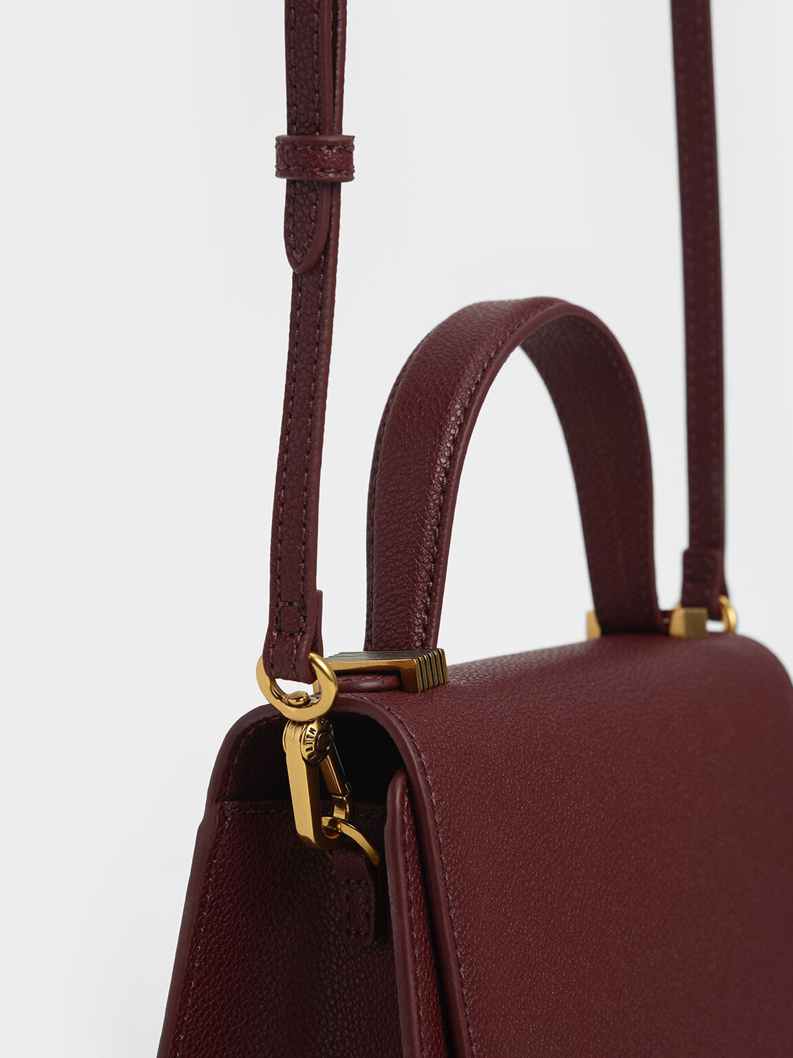 Metallic Push-Lock Top Handle Bag, Burgundy, hi-res