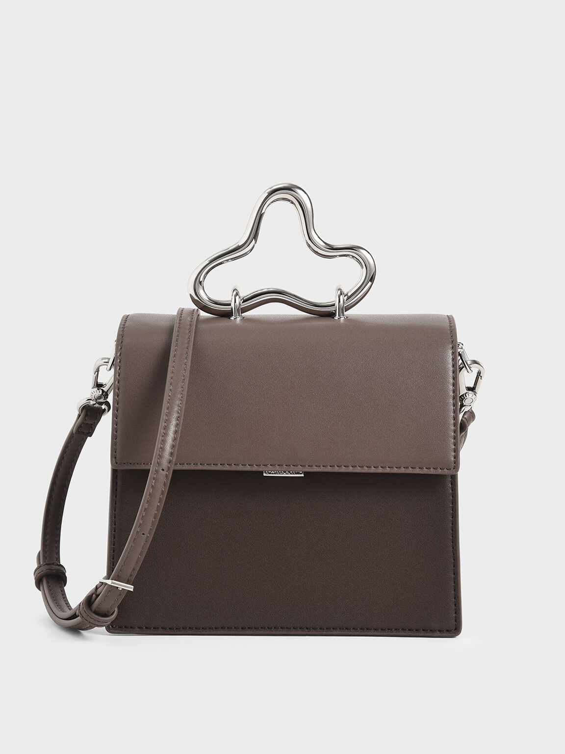 Sculptural Metal Handle Bag, Taupe, hi-res