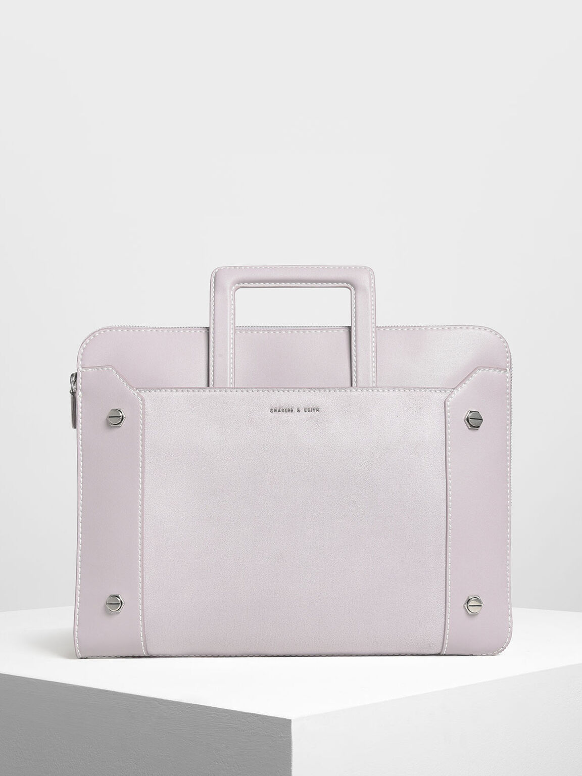 Stud Detail Laptop Bag, Lilac, hi-res