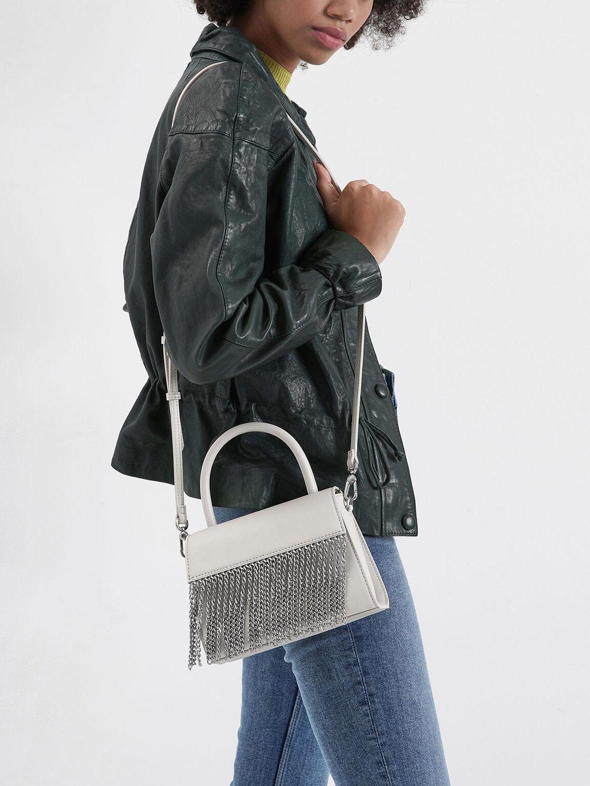 Metallic Fringe Top Handle bag, Cream, hi-res