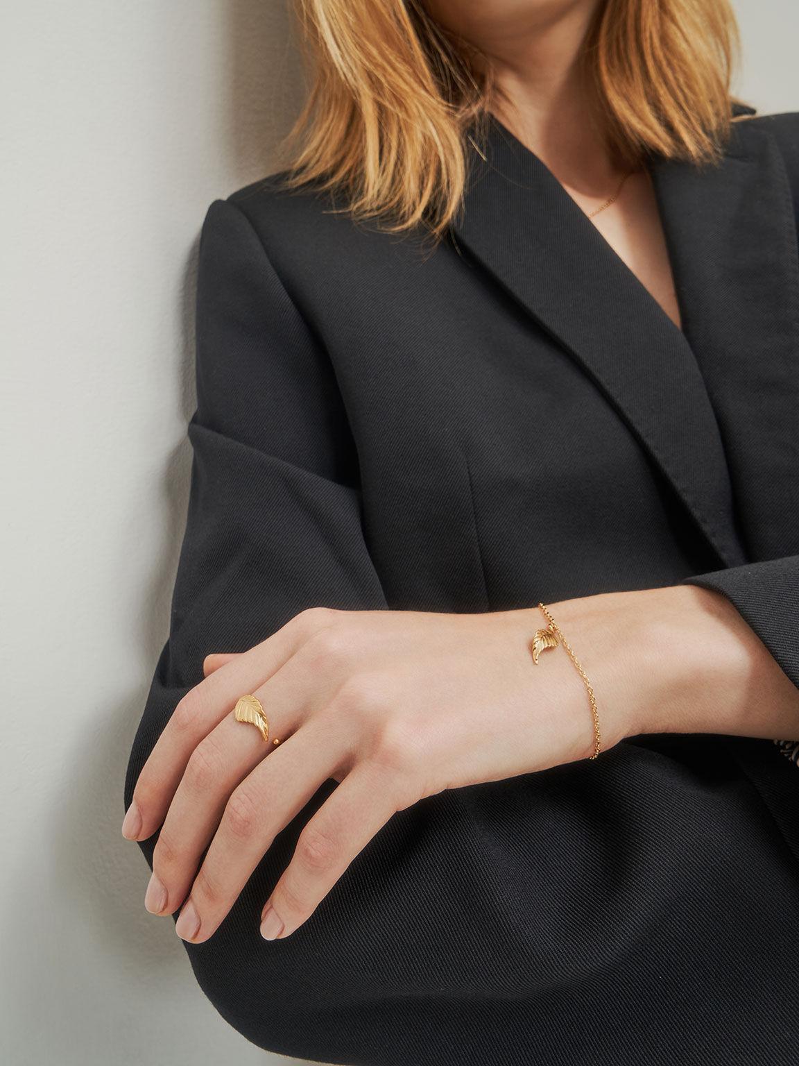 Leaf Band Ring, Brush Gold, hi-res