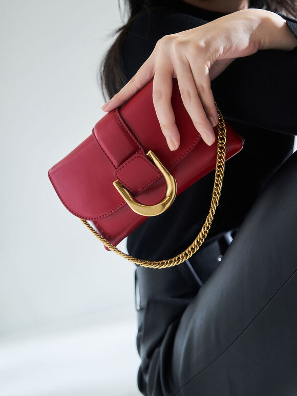 Metallic Buckle Crossbody Bag, Red, hi-res