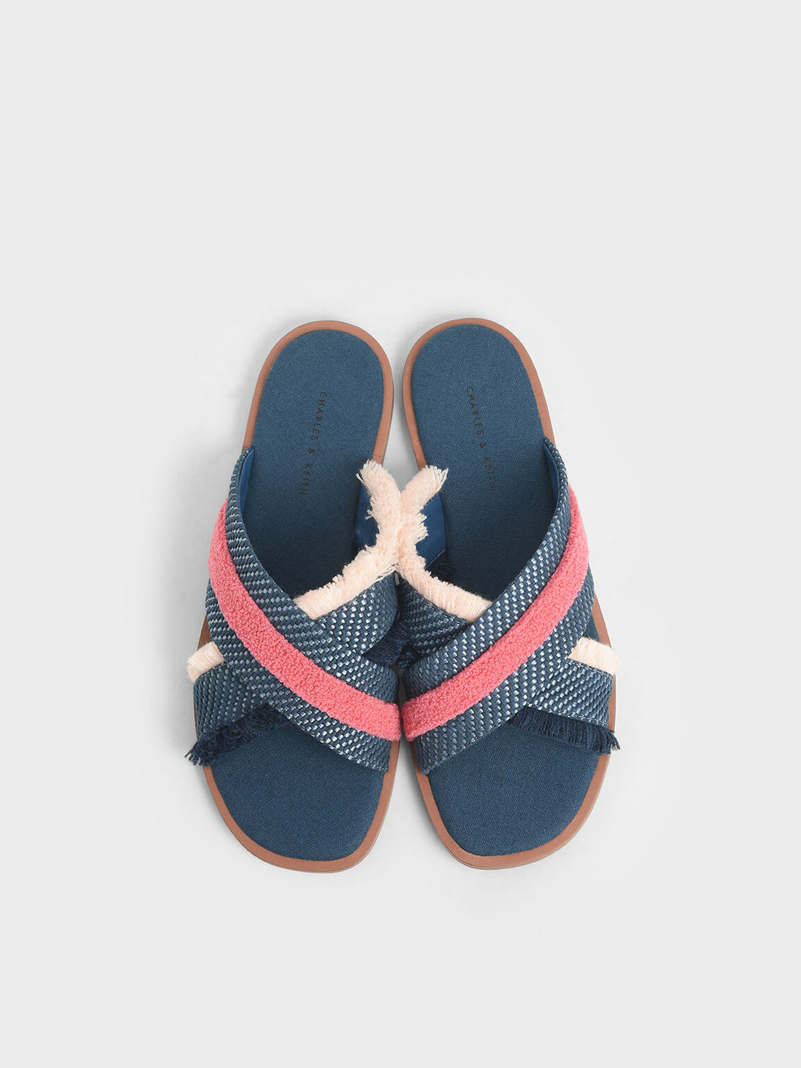 Multicoloured Woven Slide Sandals, Teal, hi-res