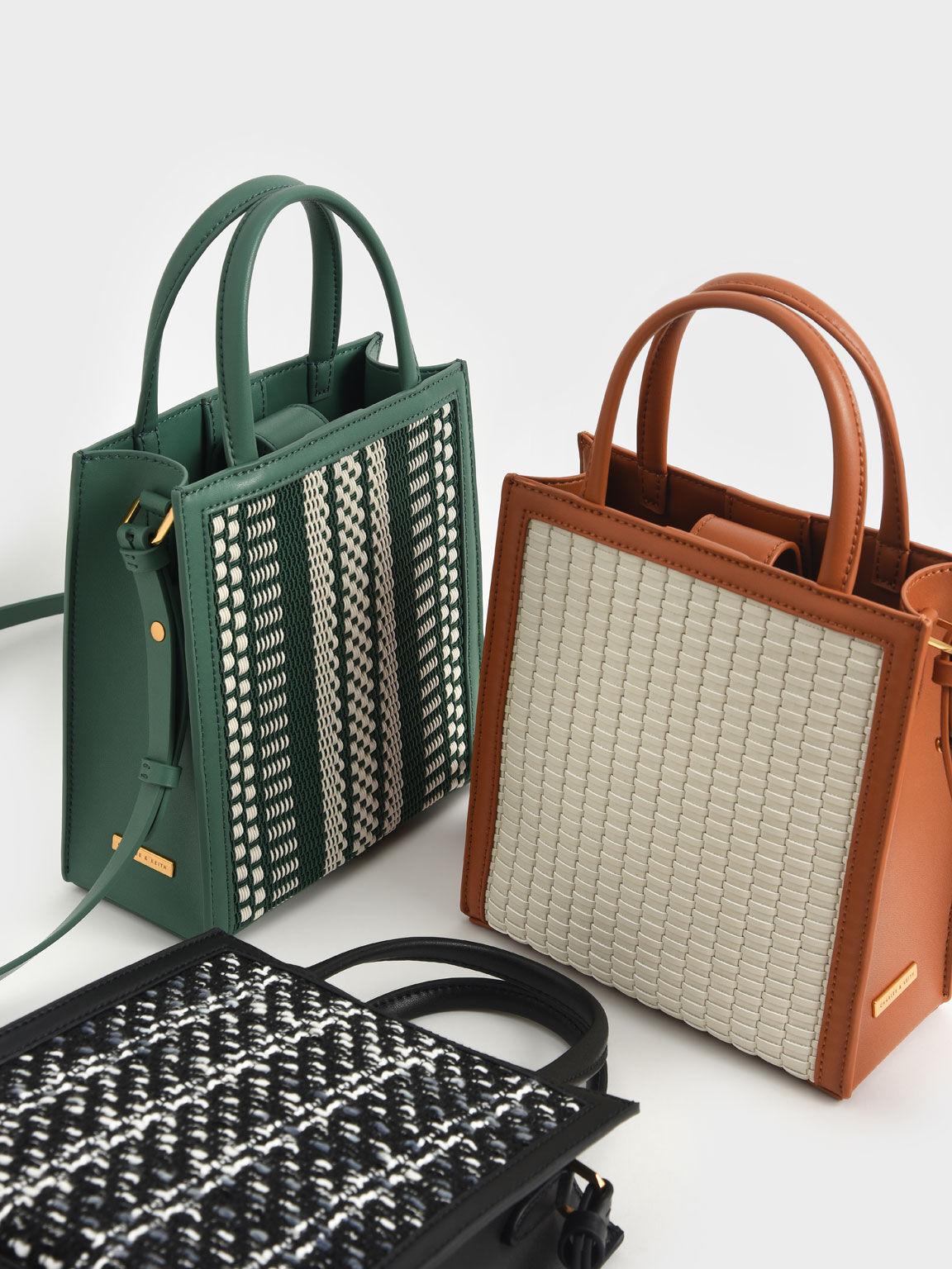Woven Fabric Tote Bag, Green, hi-res