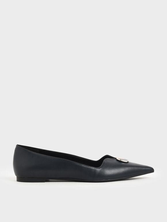 Button Detail Ballerina Flats, Dark Blue, hi-res