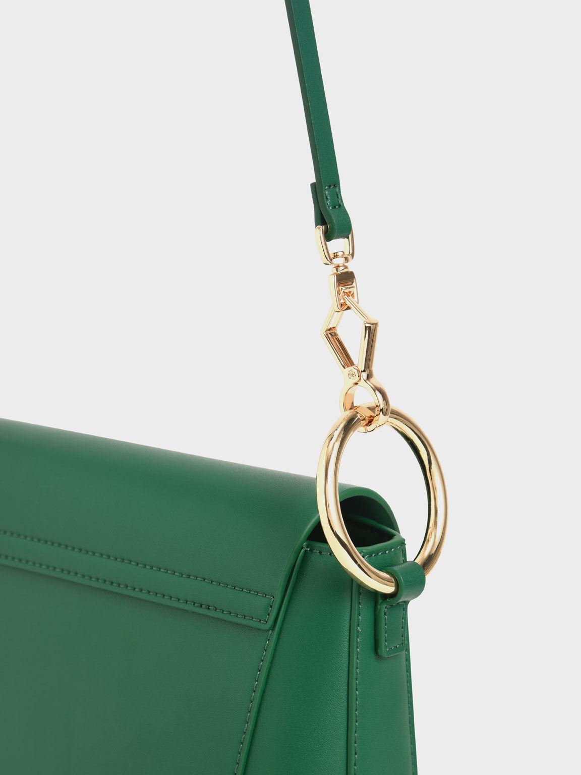 Ring Detail Crossbody Bag, Green, hi-res