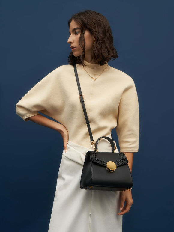 Woven Top Handle Bag, Black, hi-res