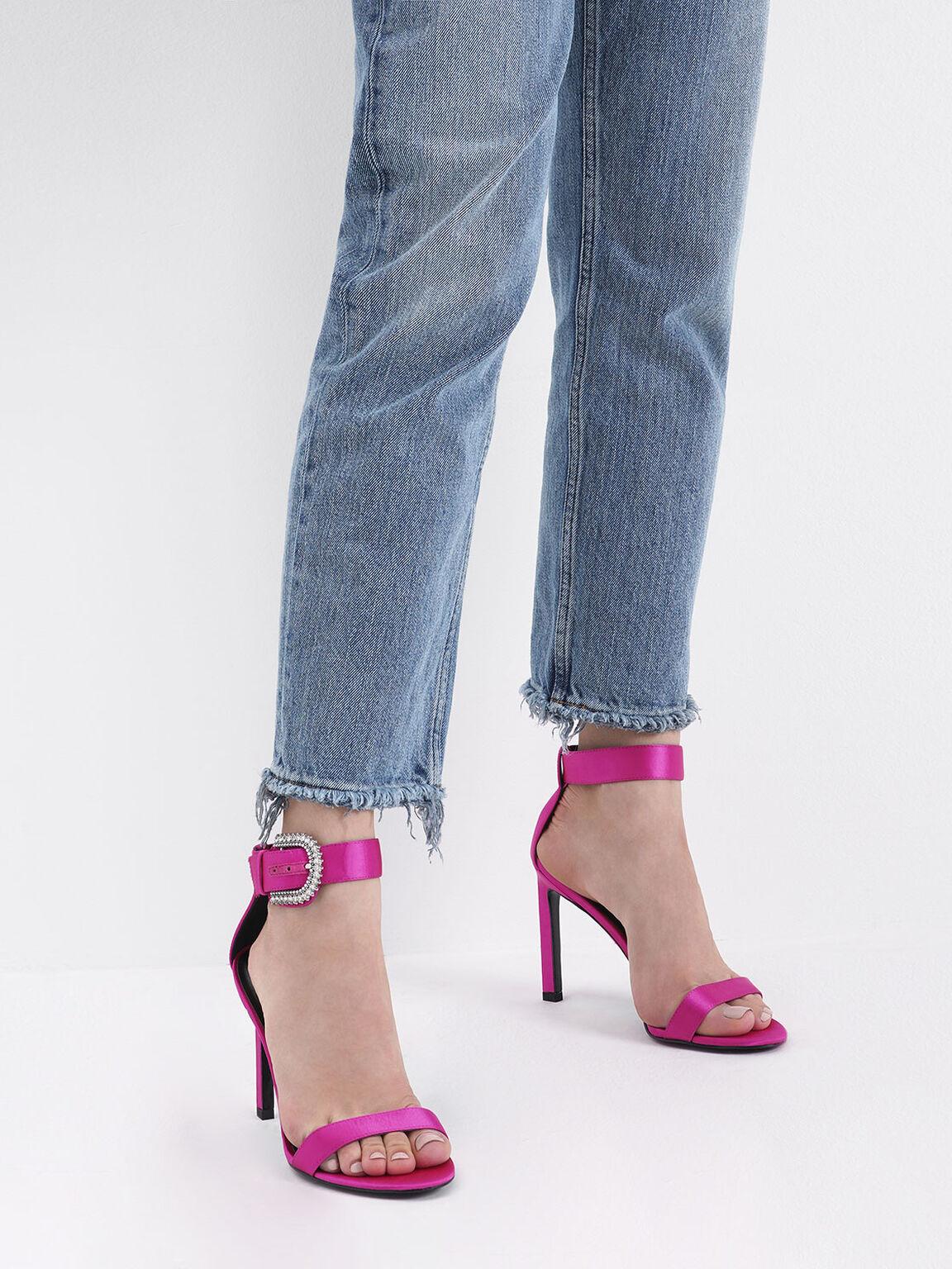 Satin Embellished Buckle Stiletto Heels, Fuchsia, hi-res