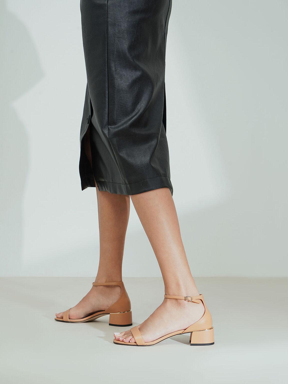 Ankle Strap Heeled Sandals, Caramel, hi-res