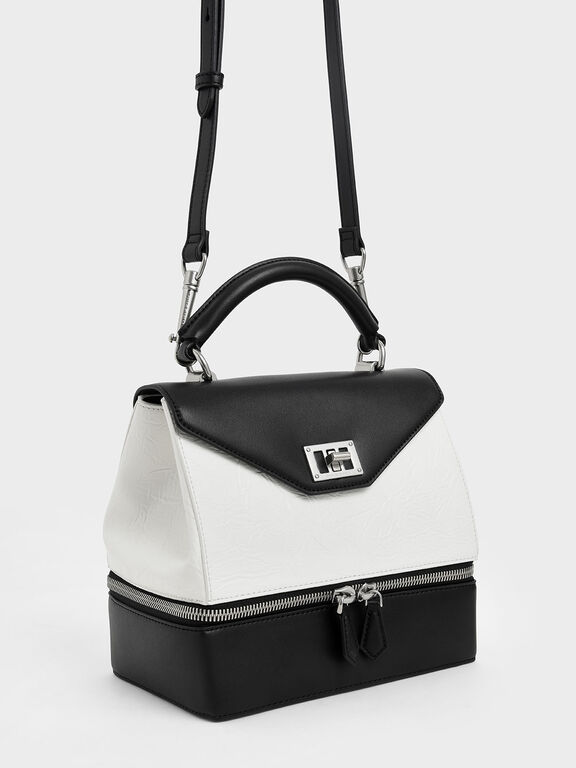Wrinkled Effect Two-Way Zip Top Handle Bag, White