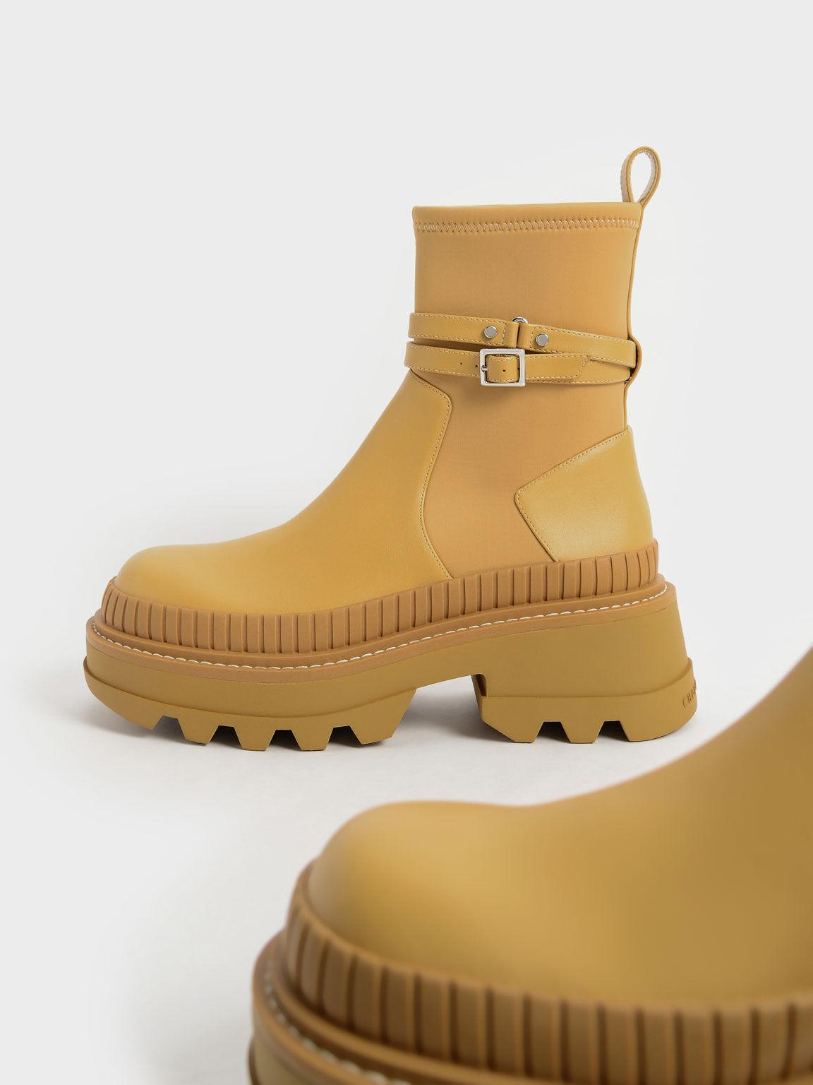 Slip-On Platform Ankle Boots, Mustard, hi-res
