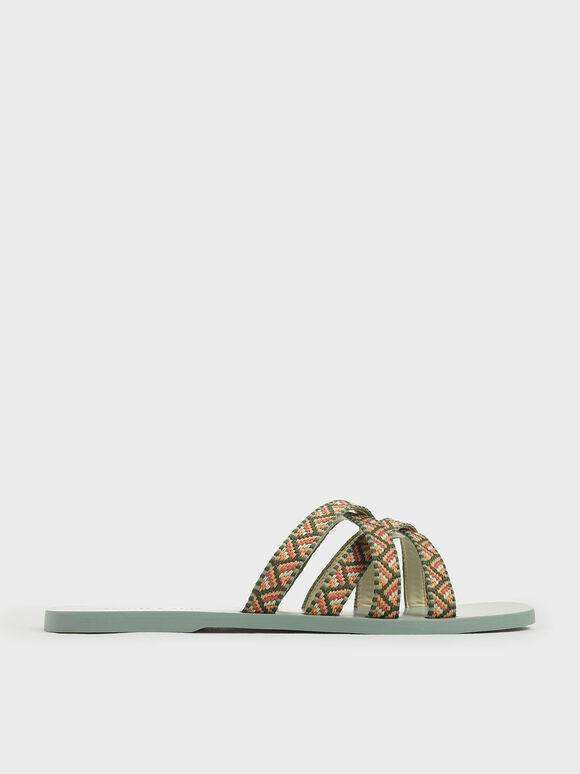 Woven Strappy Slide Sandals, Green, hi-res