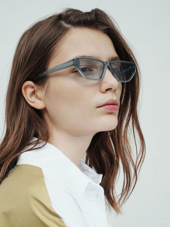 細貓眼膠框墨鏡, 藍色, hi-res