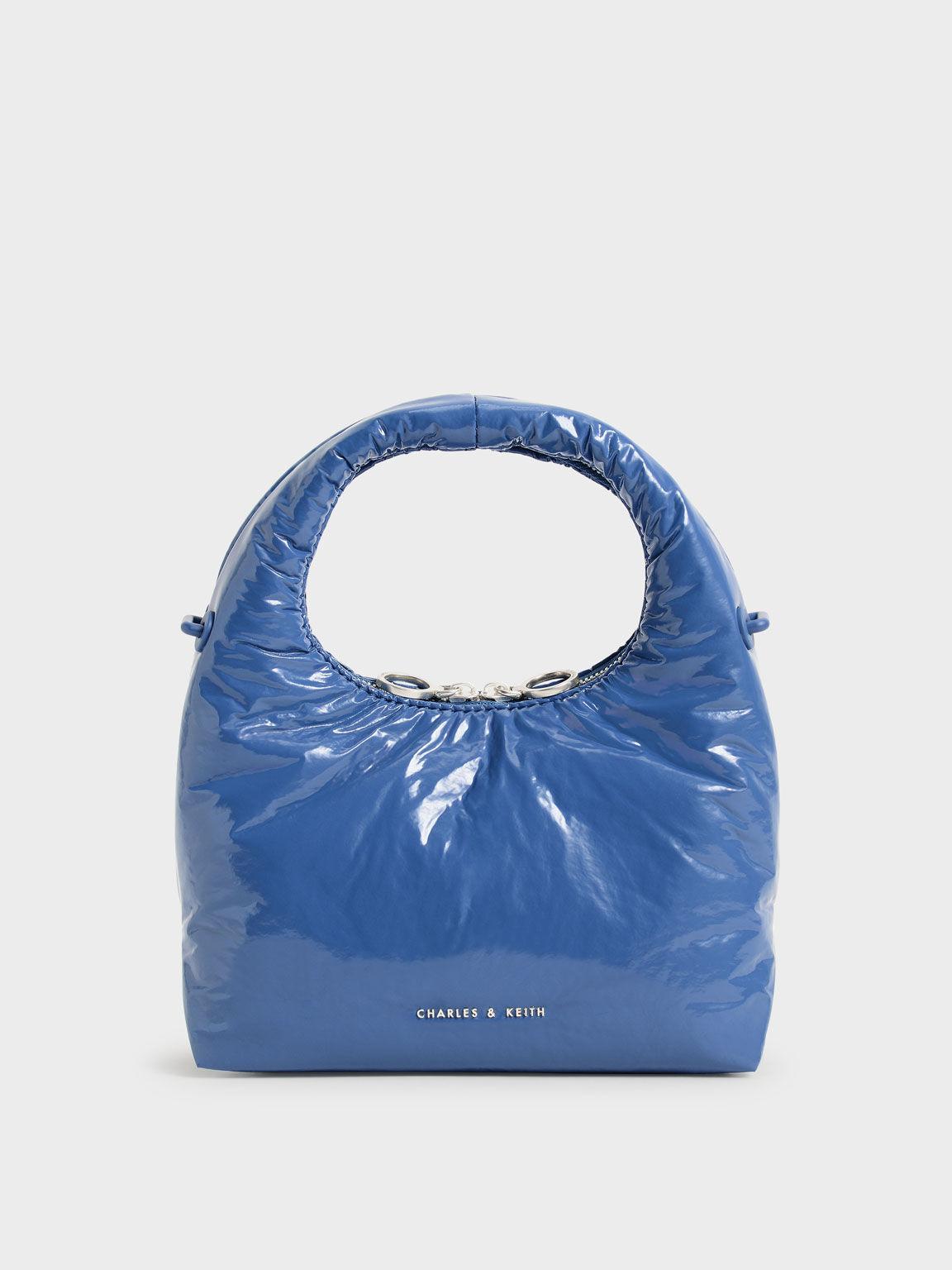 Wrinkled-Effect Puffy Bag, Blue, hi-res