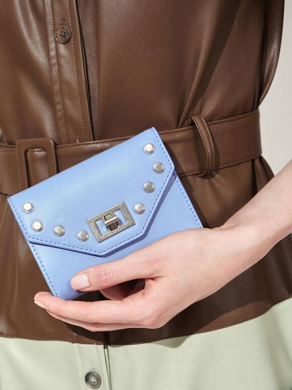 Studded Small Wallet, Denim Blue, hi-res