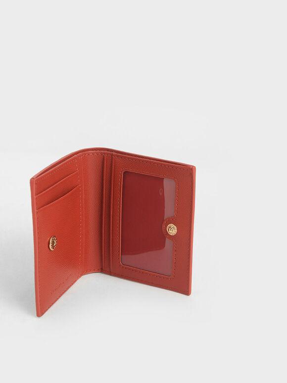 Square Small Wallet, Brick, hi-res