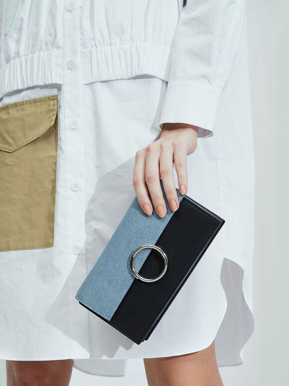 Textured Ring Detail Long Wallet, Denim Blue, hi-res