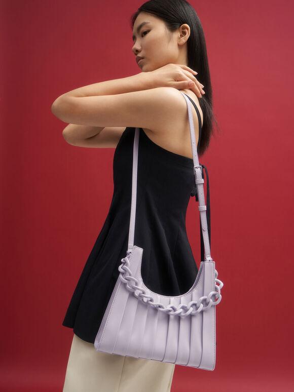Chain Handle Pleated Shoulder Bag, Lilac, hi-res