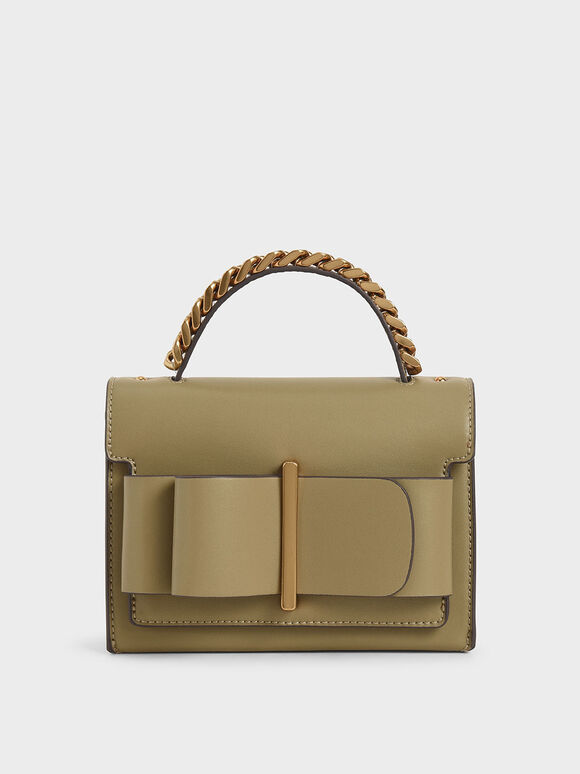 Bow Top Handle Bag, Khaki, hi-res