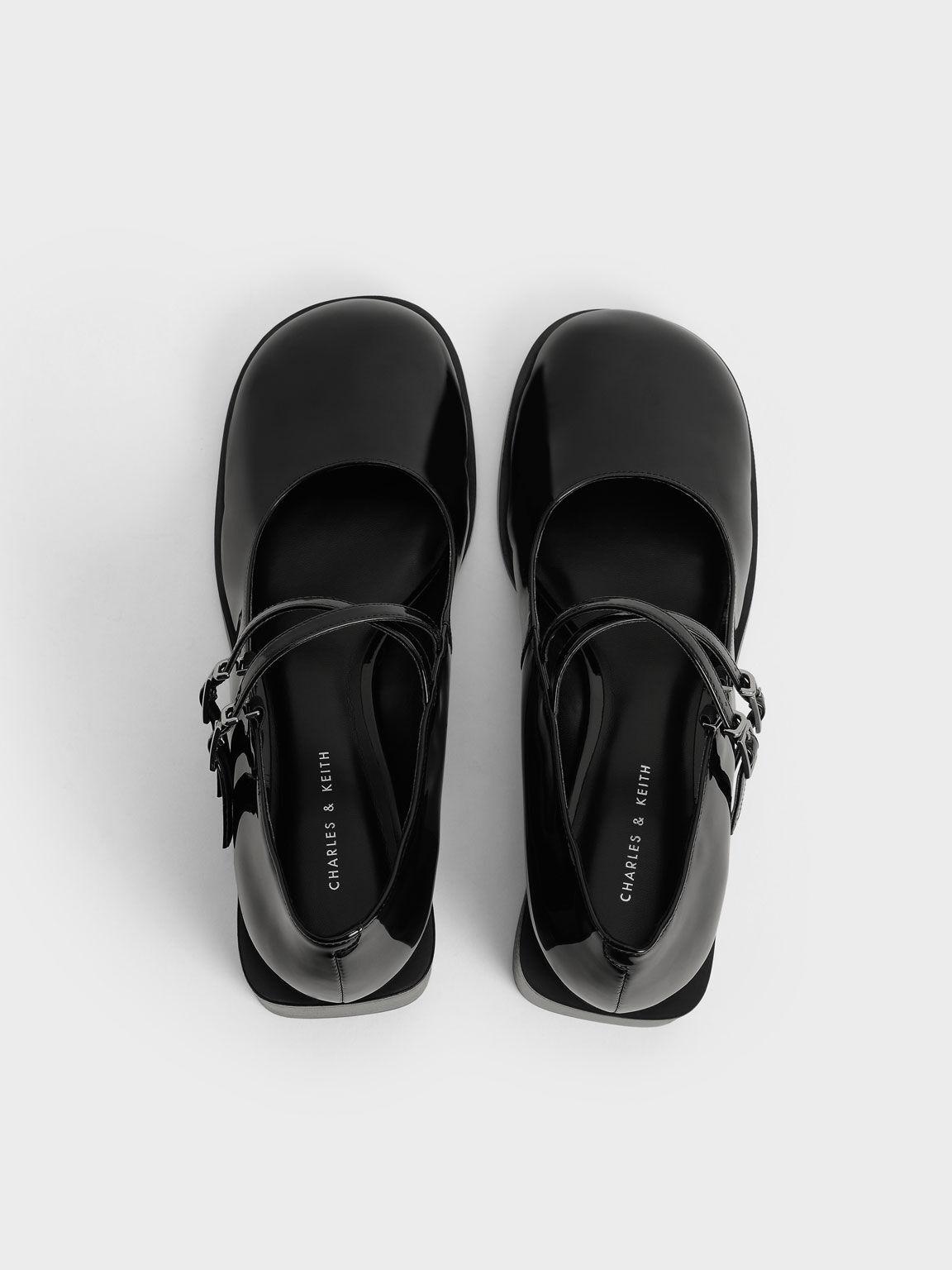 Patent Crossover Block Heel Mary Janes, Black, hi-res