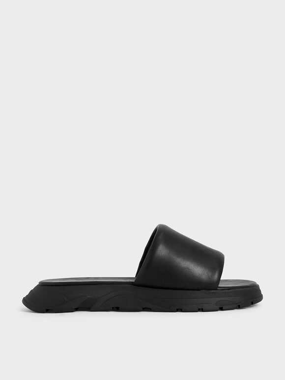 Flatform Slide Sandals, Black, hi-res