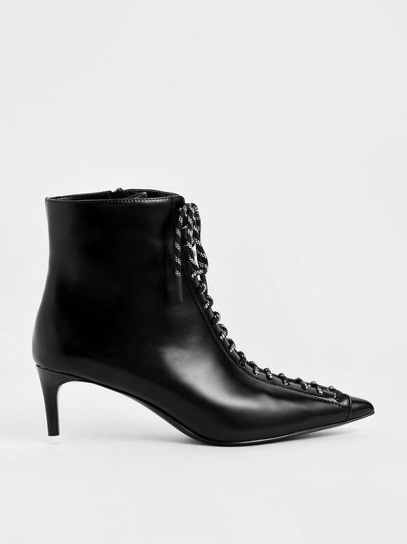 Nylon Lace-Up Ankle Boots, Black, hi-res