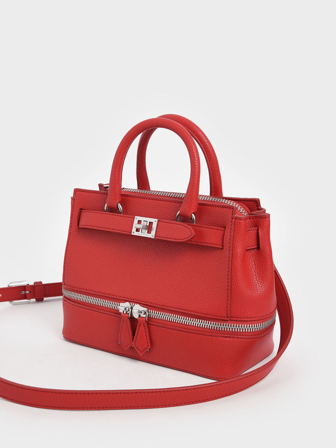 Two-Way Zip Structured Bag, Red, hi-res