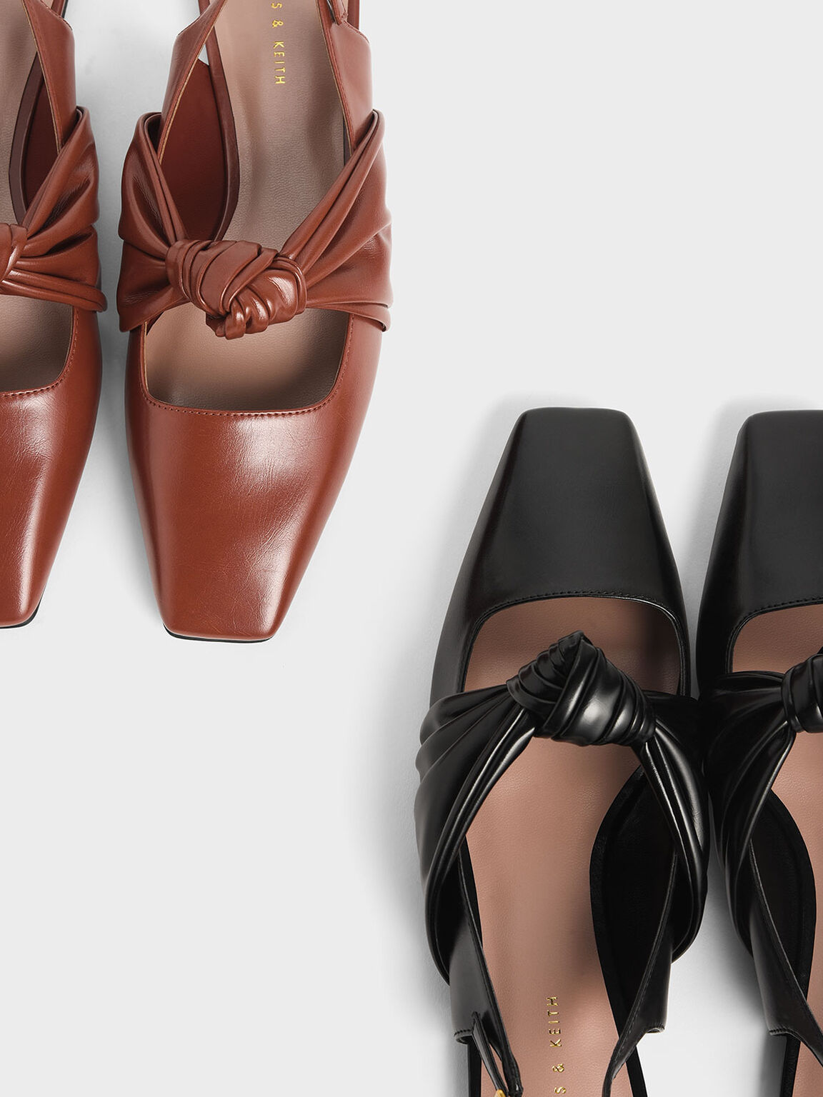 Knotted Mary Jane Strap Slingback Flats, Brick, hi-res