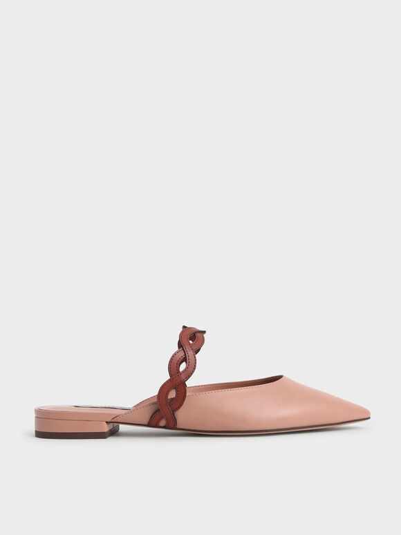 Woven Strap Flat Mules, Pink, hi-res