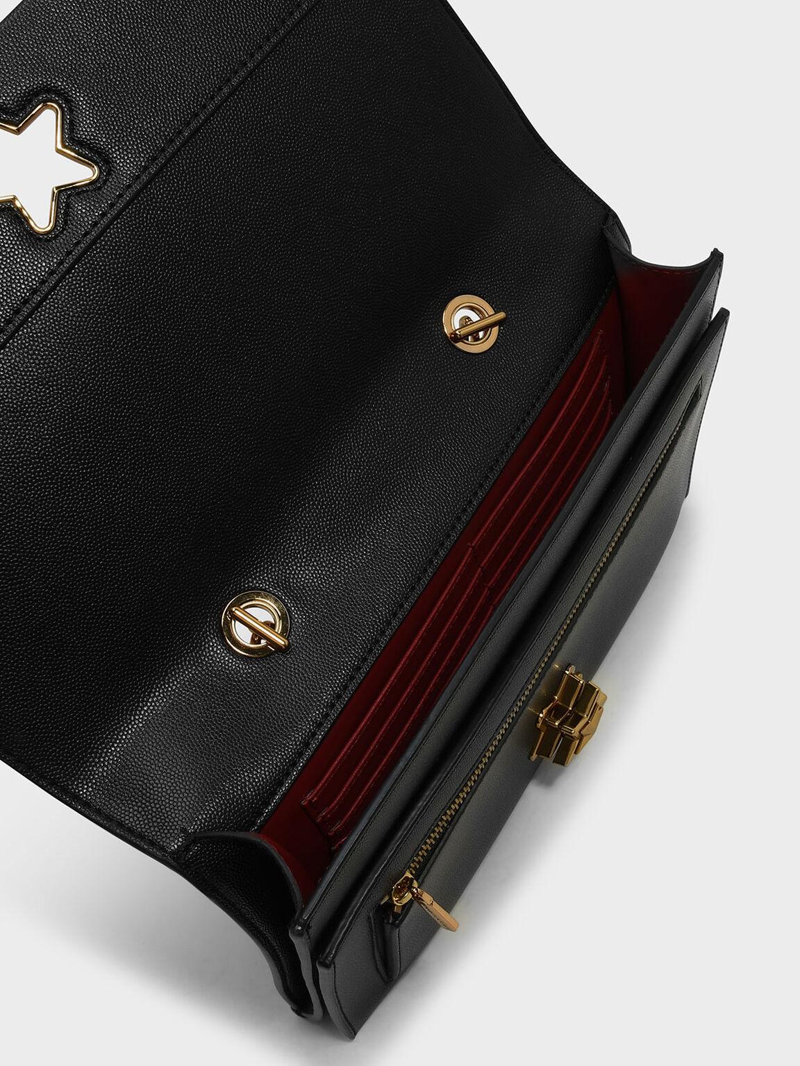 星型釦飾手提包, 黑色, hi-res