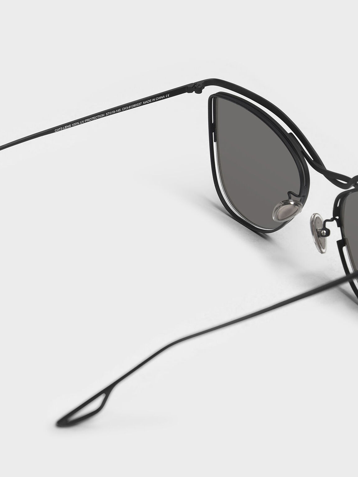 Wire Frame Cat Eye Shades, Black, hi-res