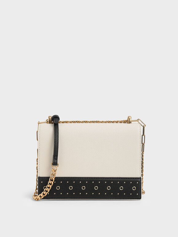 Eyelet-Embellished Crossbody Bag, Cream, hi-res