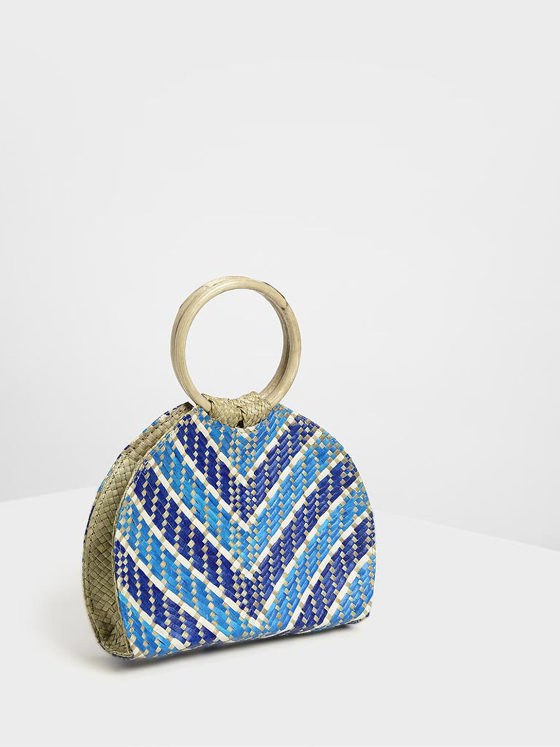 Handwoven Two-Tone Circle Top Handle Banig Bag, Dark Blue, hi-res
