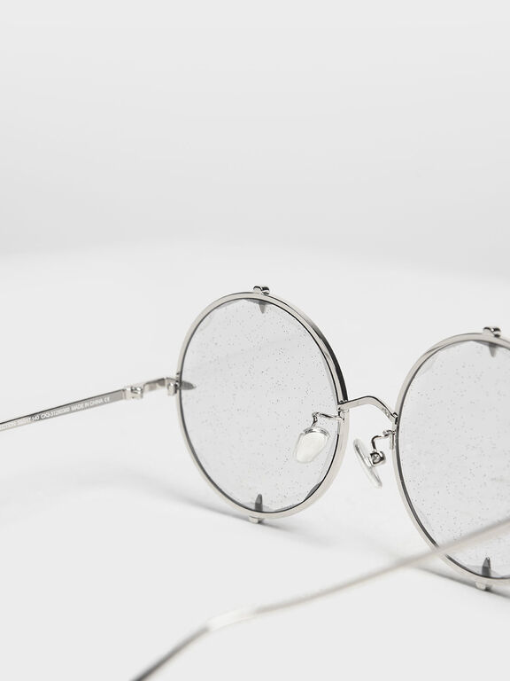 Round Wire Frame Skinny Sunglasses, Grey