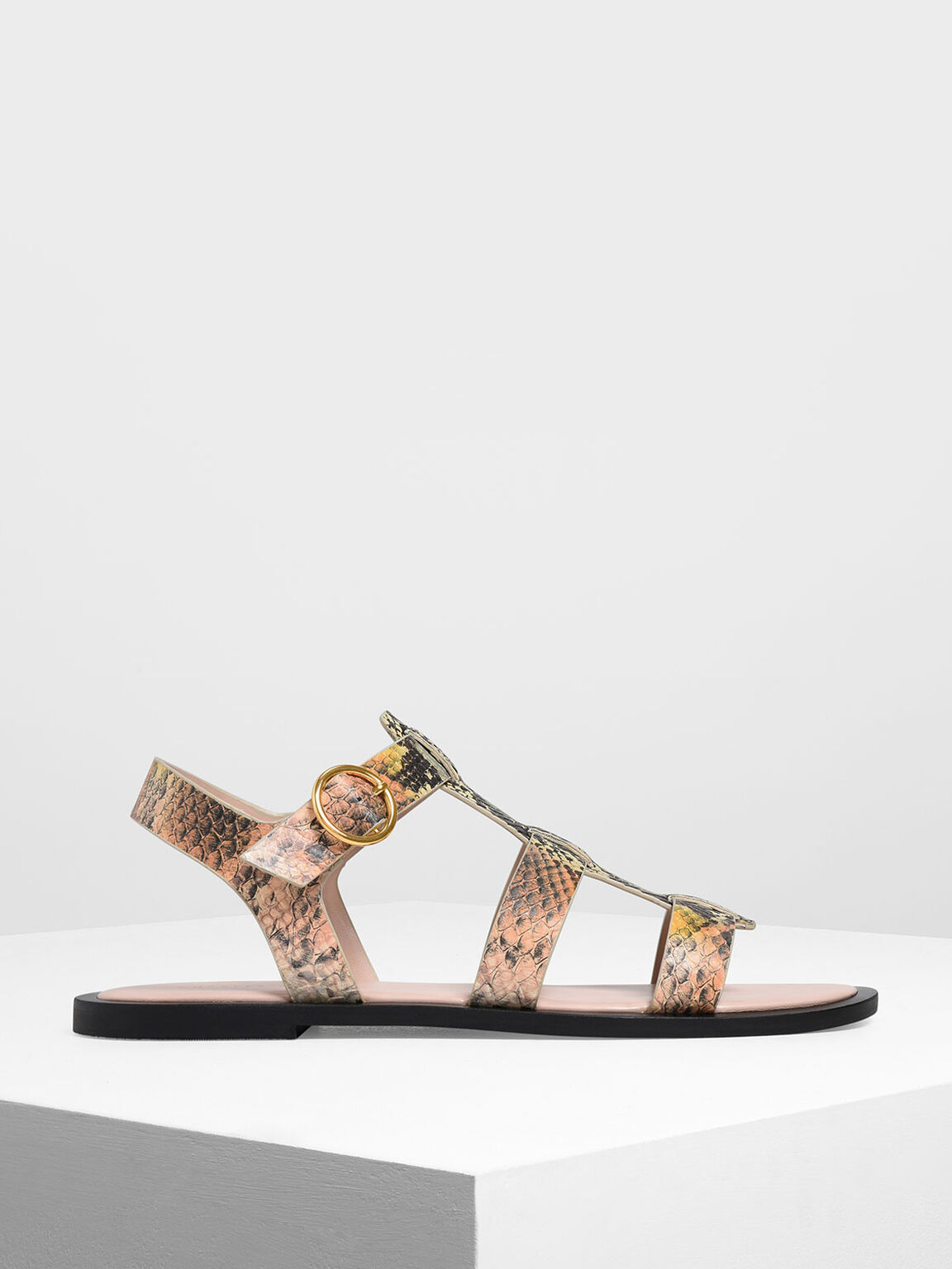 蛇紋寬帶平底涼鞋, 混色, hi-res