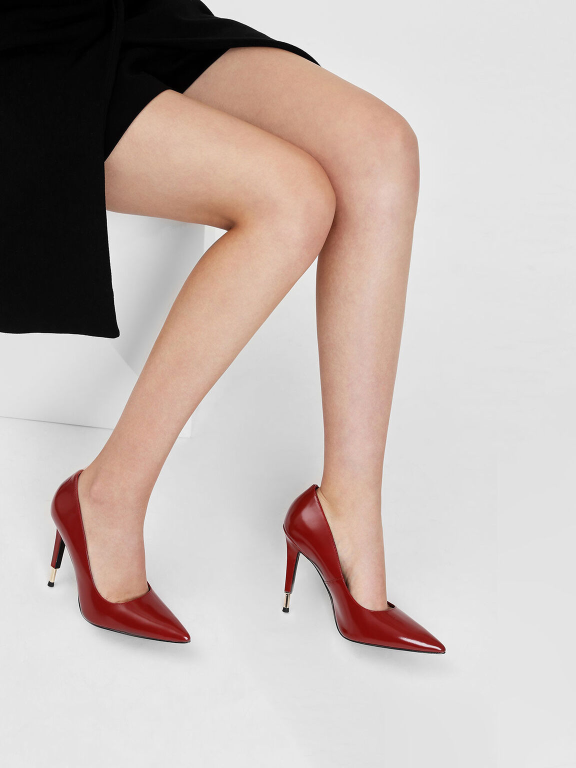 Metal Tip Heel Leather Pumps, Red, hi-res