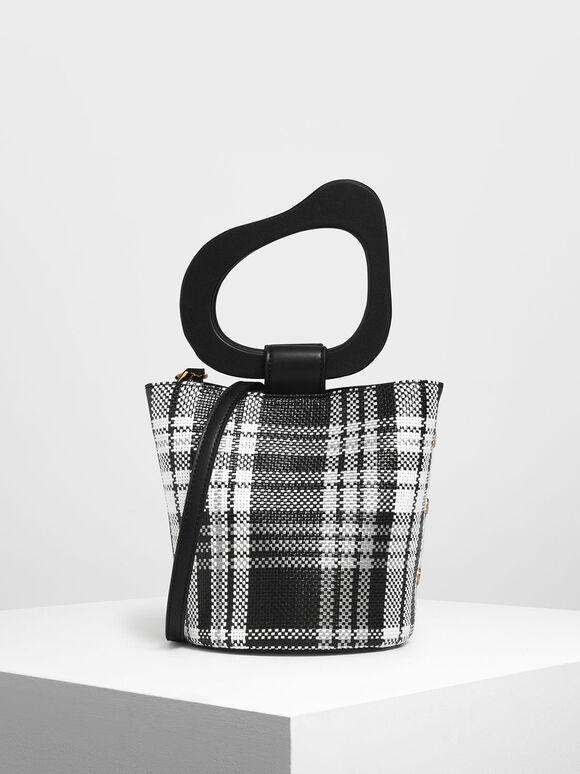 Sculptural Handle Woven Bucket Bag, Black, hi-res