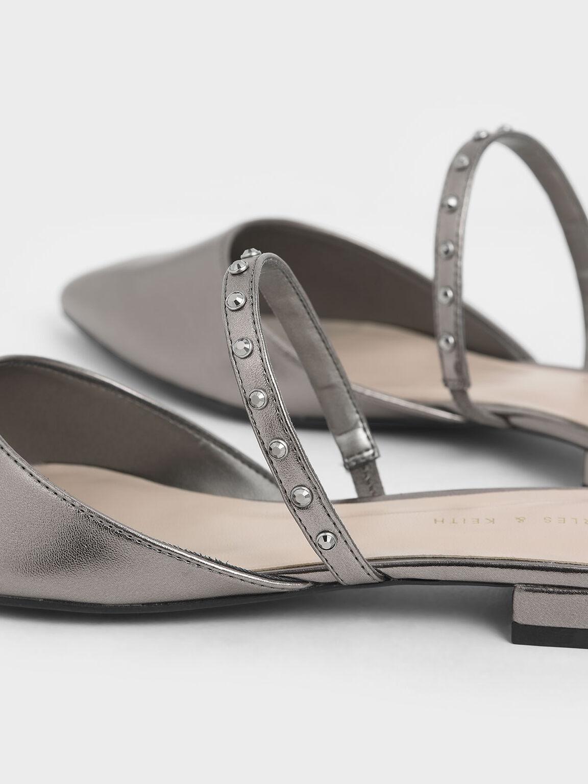金屬感寶石拖鞋, 金灰色, hi-res