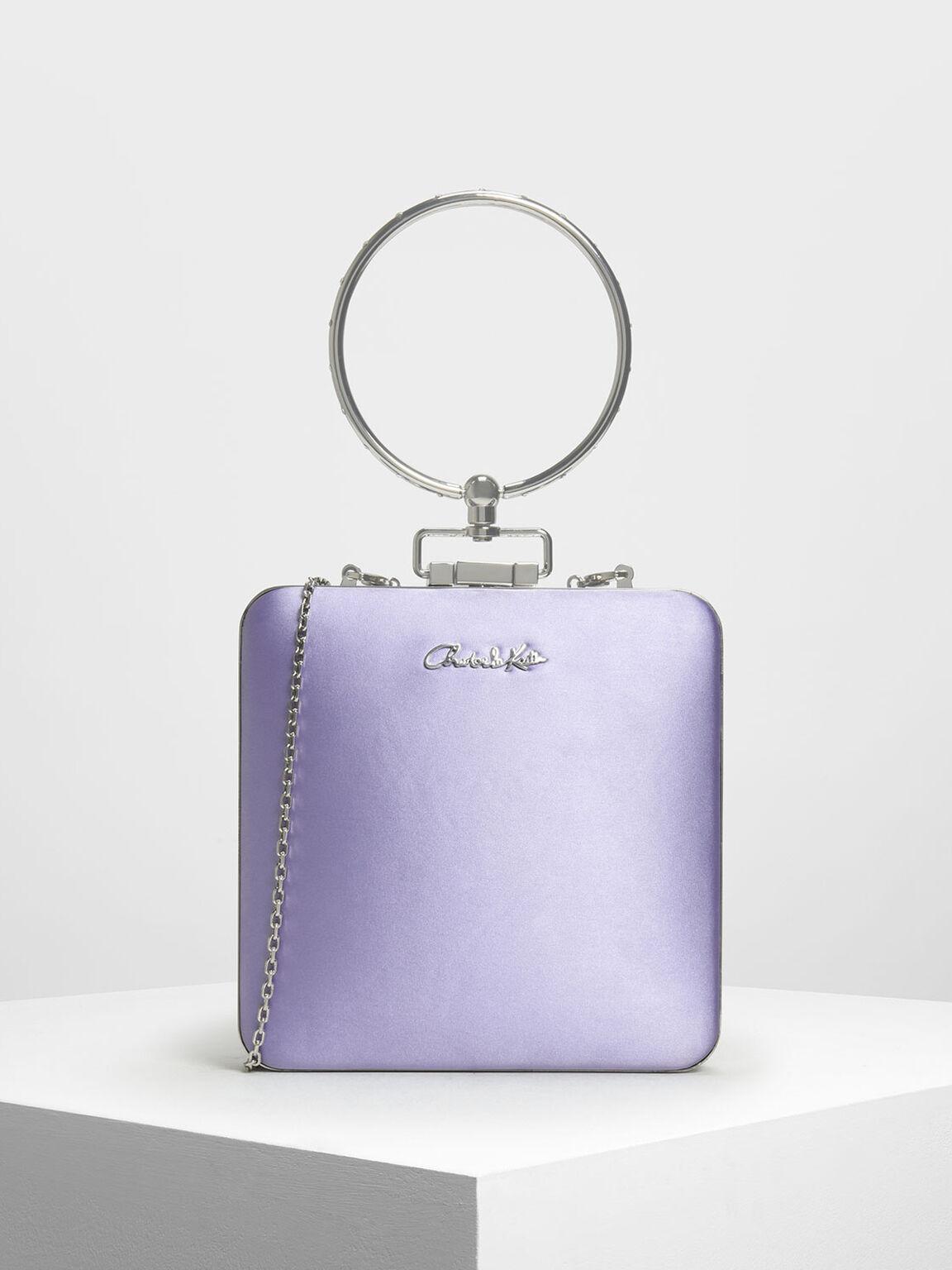 圓提柄緞面手拿包, 紫丁香色, hi-res