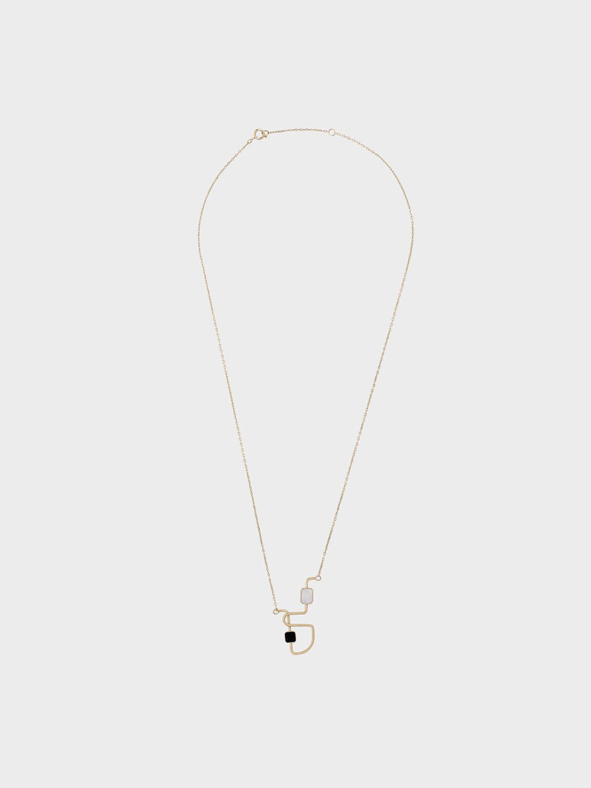 Mother Of Pearl Sculptural Necklace, Gold, hi-res