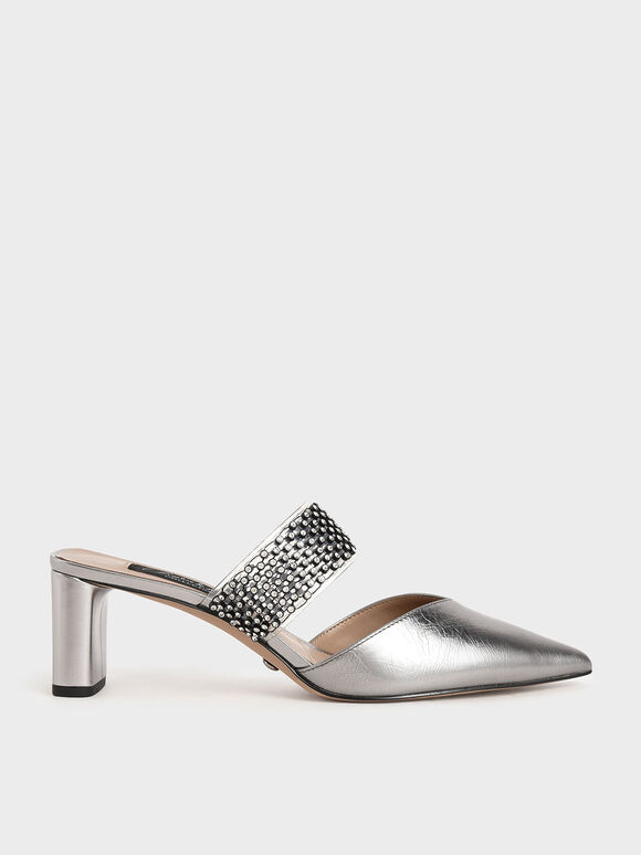 Leather Embellished-Strap Mules, Pewter, hi-res